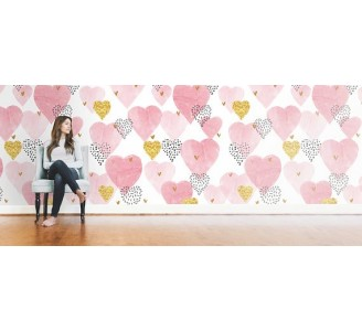 Hearts Removable Wallpaper living room