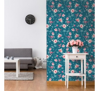 Floral Love Removable Wallpaper full view