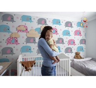 Happy Elephants Removable Wallpaper