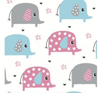 Happy Elephants Removable Wallpaper pattern