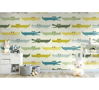 Funny Crocodile Removable Wallpaper
