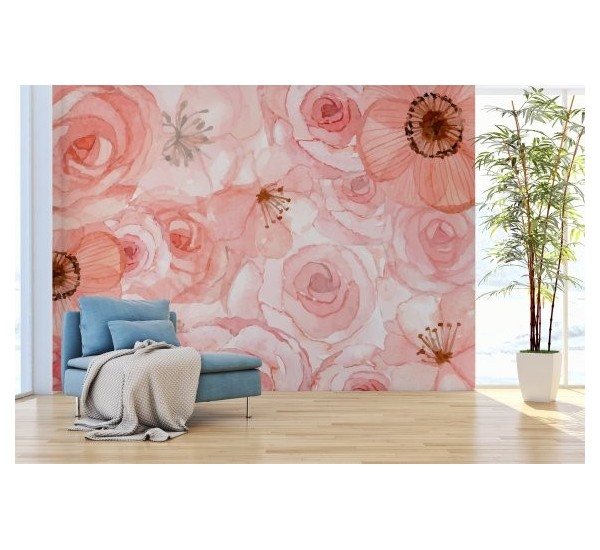 Calm Pink Roses Removable Wallpaper