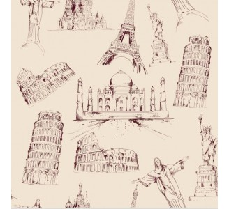 Famous Monuments Removable Wallpaper pattern