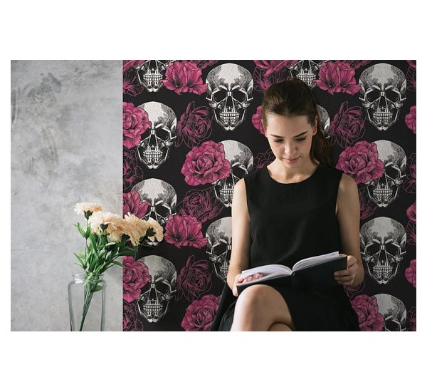 Skull with Roses Removable Wallpaper