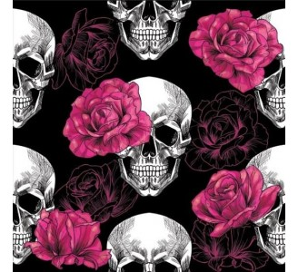 Skull with Roses Removable Wallpaper pattern