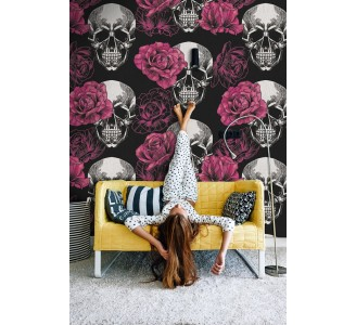 Skull with Roses Removable Wallpaper kids room