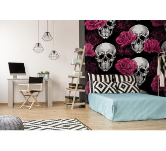 Skull with Roses Removable Wallpaper bedroom