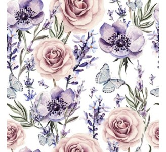 Lavender and roses Removable Wallpaper pattern