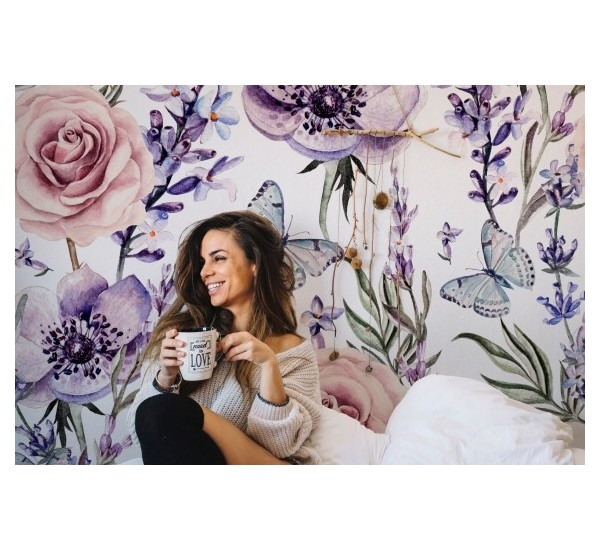 Lavender and roses Removable Wallpaper