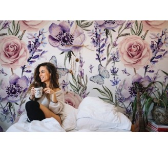 Lavender and roses Removable Wallpaper full view