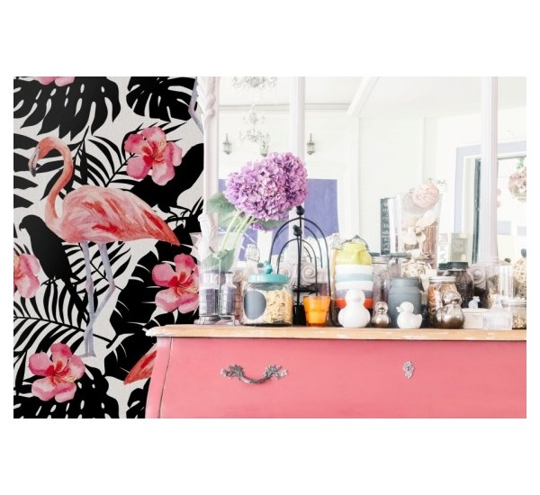 Flamingo and flowers Removable Wallpaper