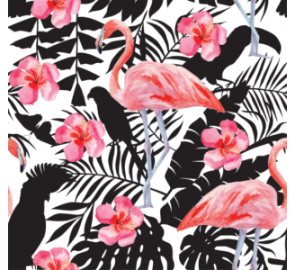 Flamingo and flowers Removable Wallpaper pattern