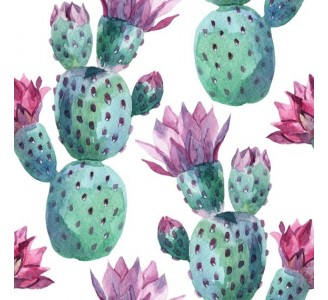 Watercolor Pink Cactus Removable Wallpaper pattern