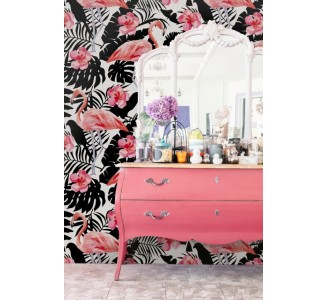 Flamingo and flowers Removable Wallpaper full view