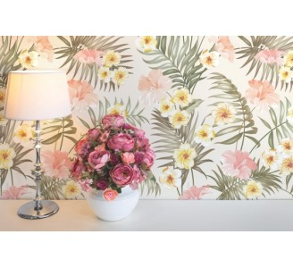 Soft tropical flowers Removable Wallpaper
