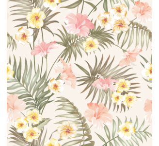 Soft tropical flowers Removable Wallpaper pattern